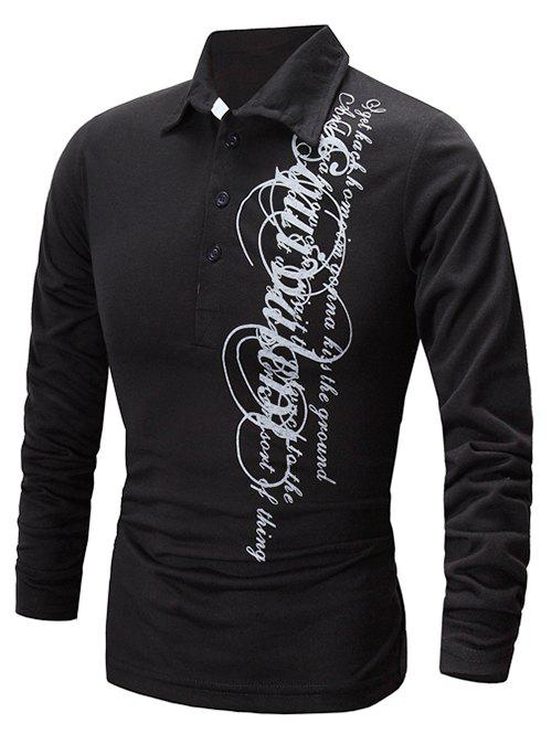 Discount Casual Letter Print Polo Collar Shirt
