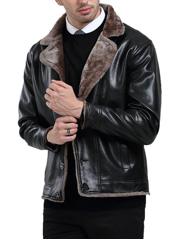 Hot Button Fly Fleece PU Leather Jacket