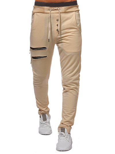 New Zip and Button Embellished Solid Color Casual Pants
