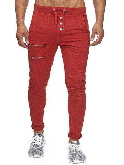 Unique Zip and Button Embellished Solid Color Casual Pants