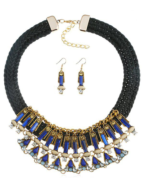 Discount Rhinestone Inlaid Rope Necklace Earrings Suit