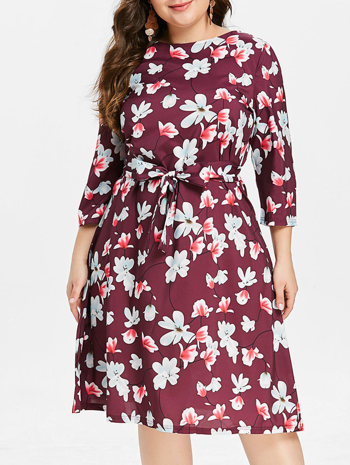 Outfits Floral Print Plus Size A Line Dress with Belt