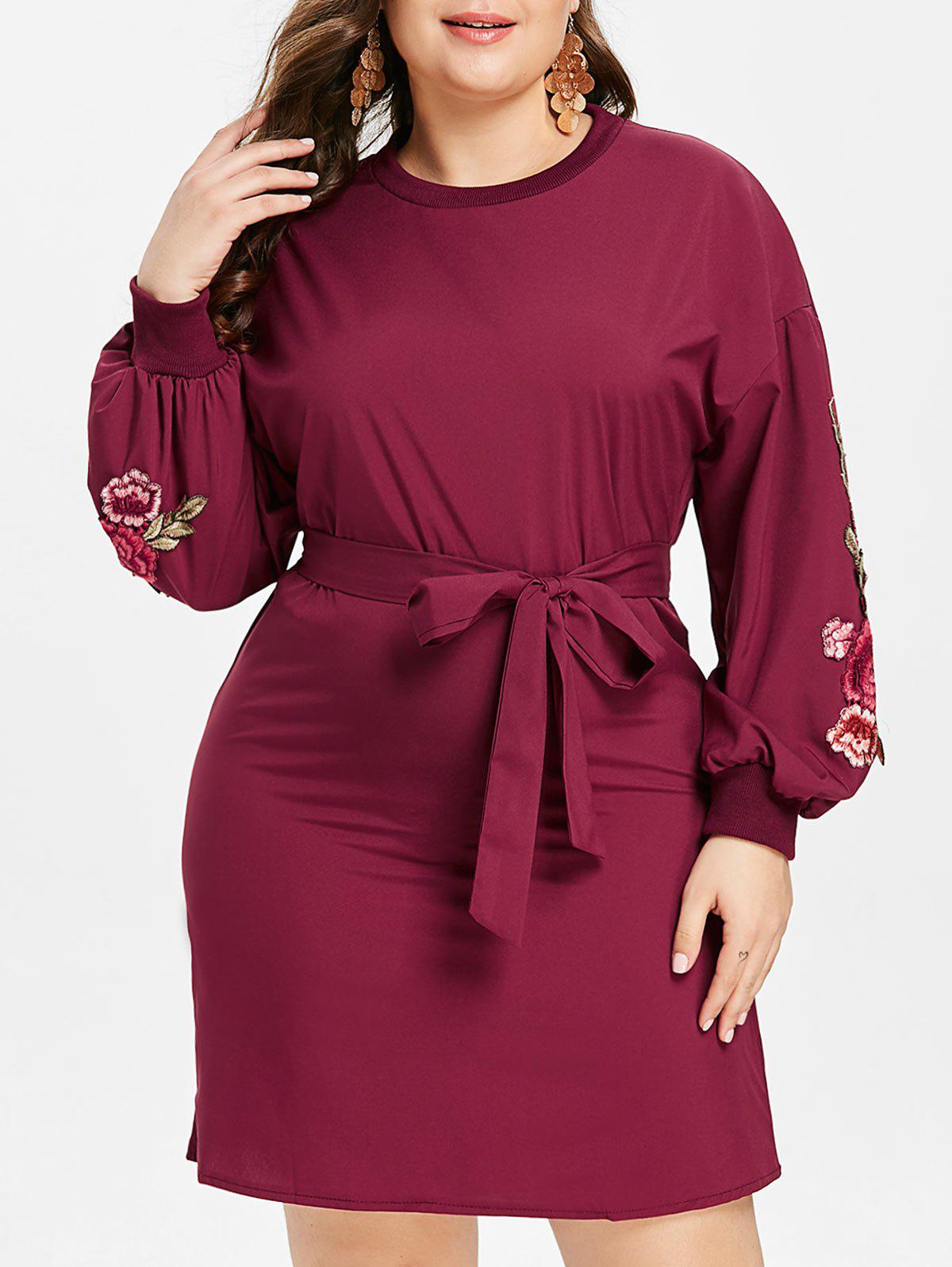 Chic Plus Size Embroidered Belted Dress