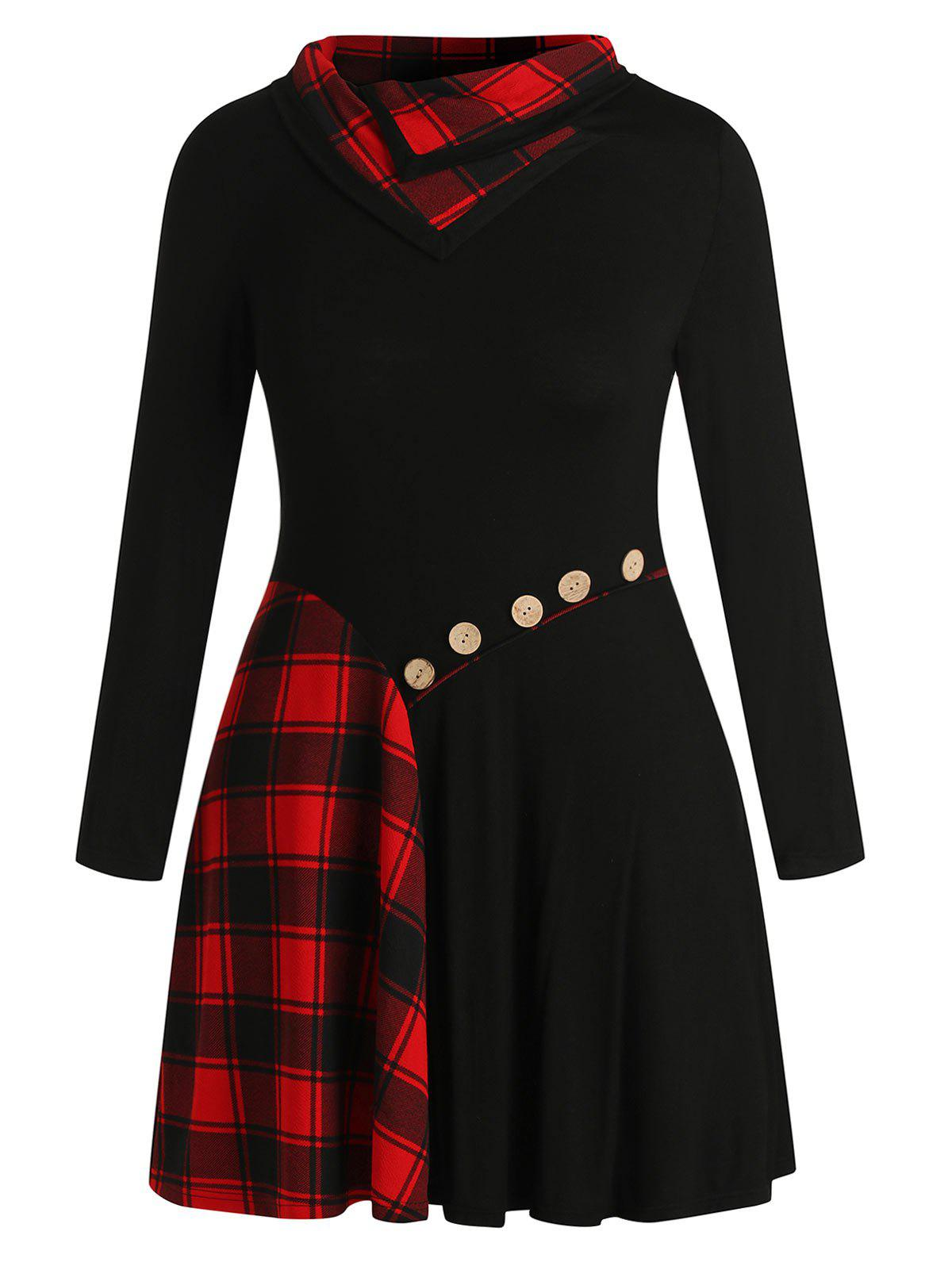 Trendy Plus Size Plaid Patchwork Buttons Funnel Collar Dress