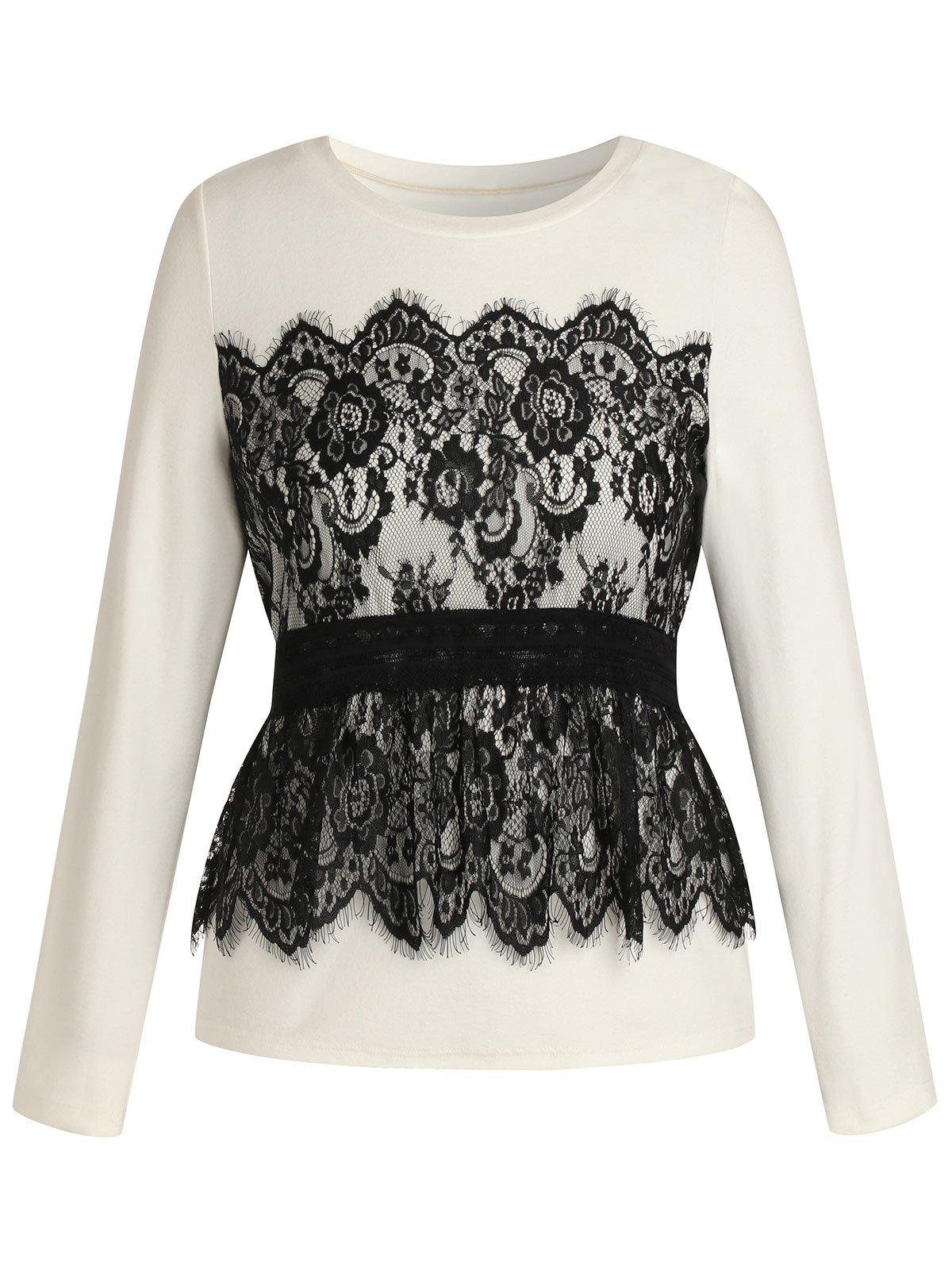 Latest Plus Size Long Sleeves Overlay Lace Tee