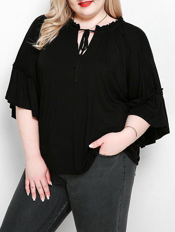 Trendy Plus Size Keyhole Flare Sleeve Top