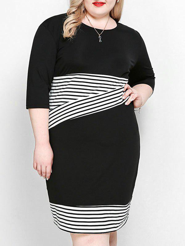 Trendy Stripe Plus Size Sheath Dress