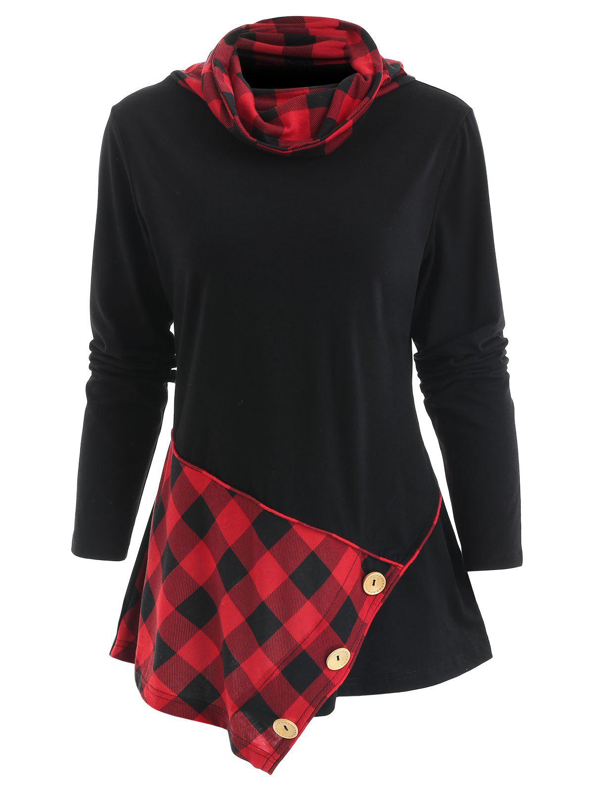 Shops Long Sleeve Heap Collar Tartan Panel T-shirt