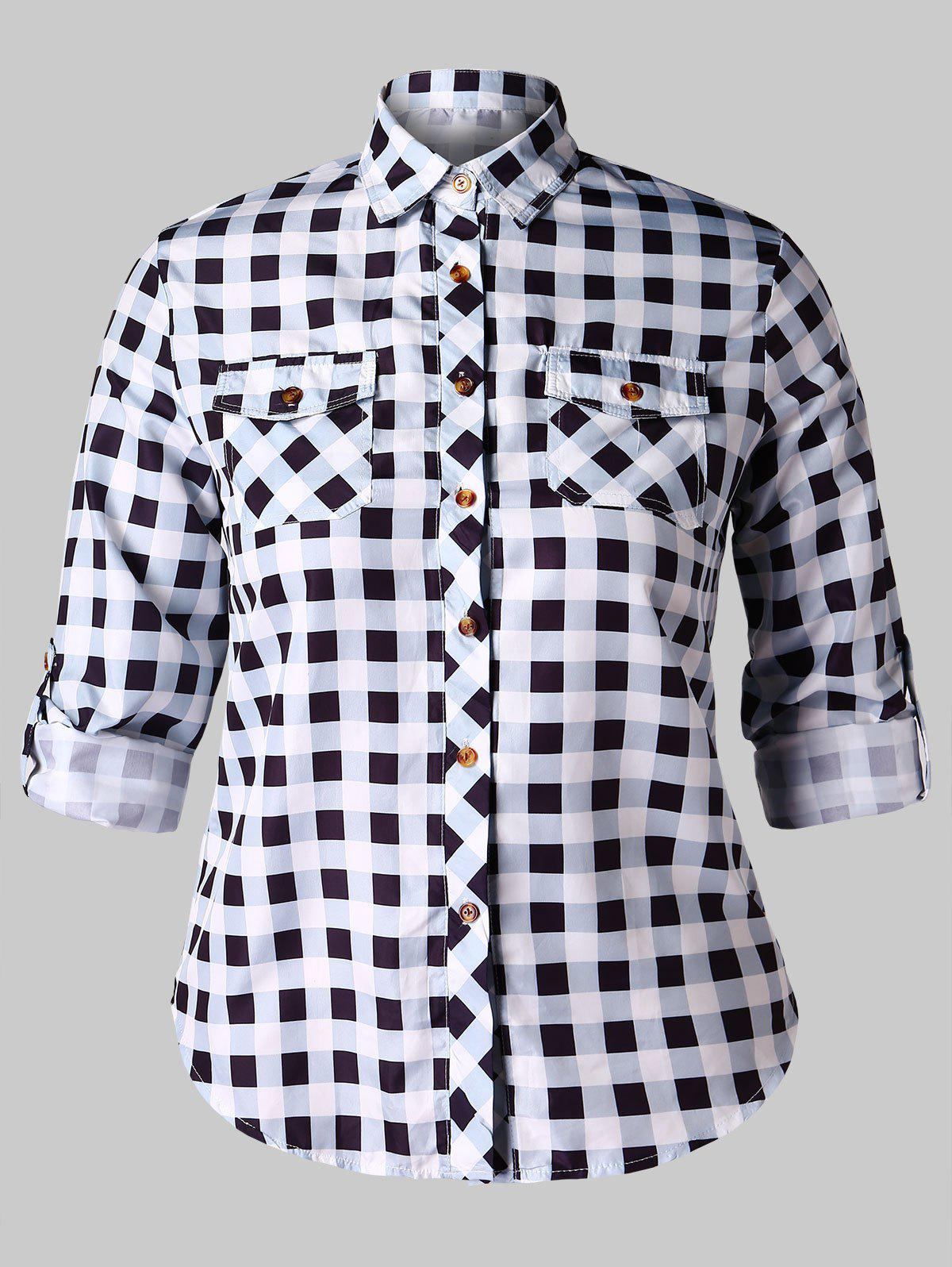 Outfits Plus Size Plaid Shirt with Pockets