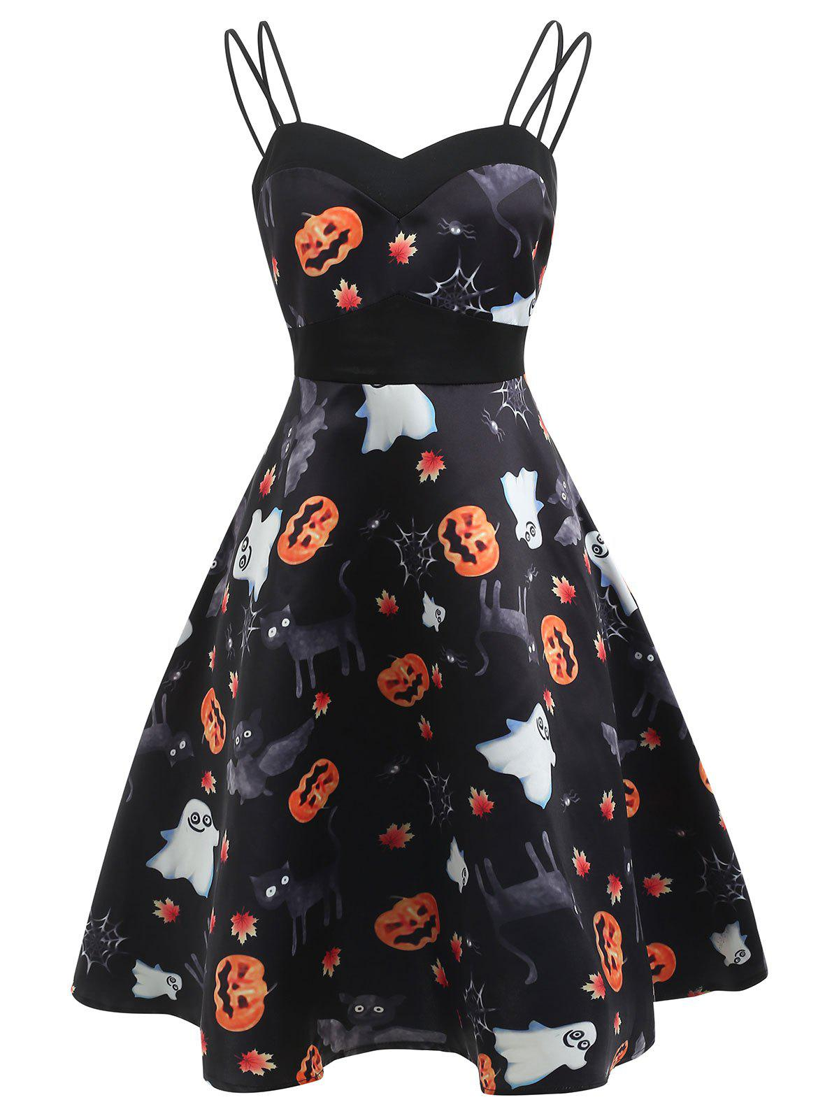 Discount Vintage Halloween Pumpkin Print Dress