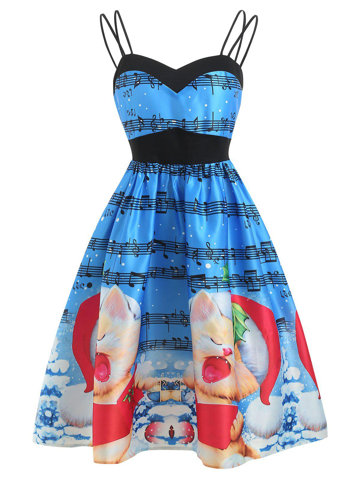 Latest Christmas Musical Print A Line Dress
