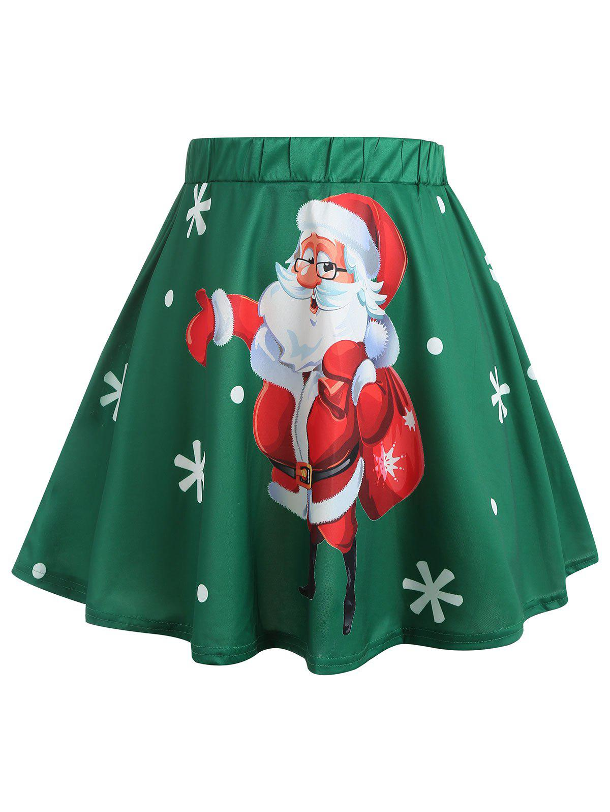 Affordable Christmas Santa Claus and Snowflake Print Plus Size Skirt