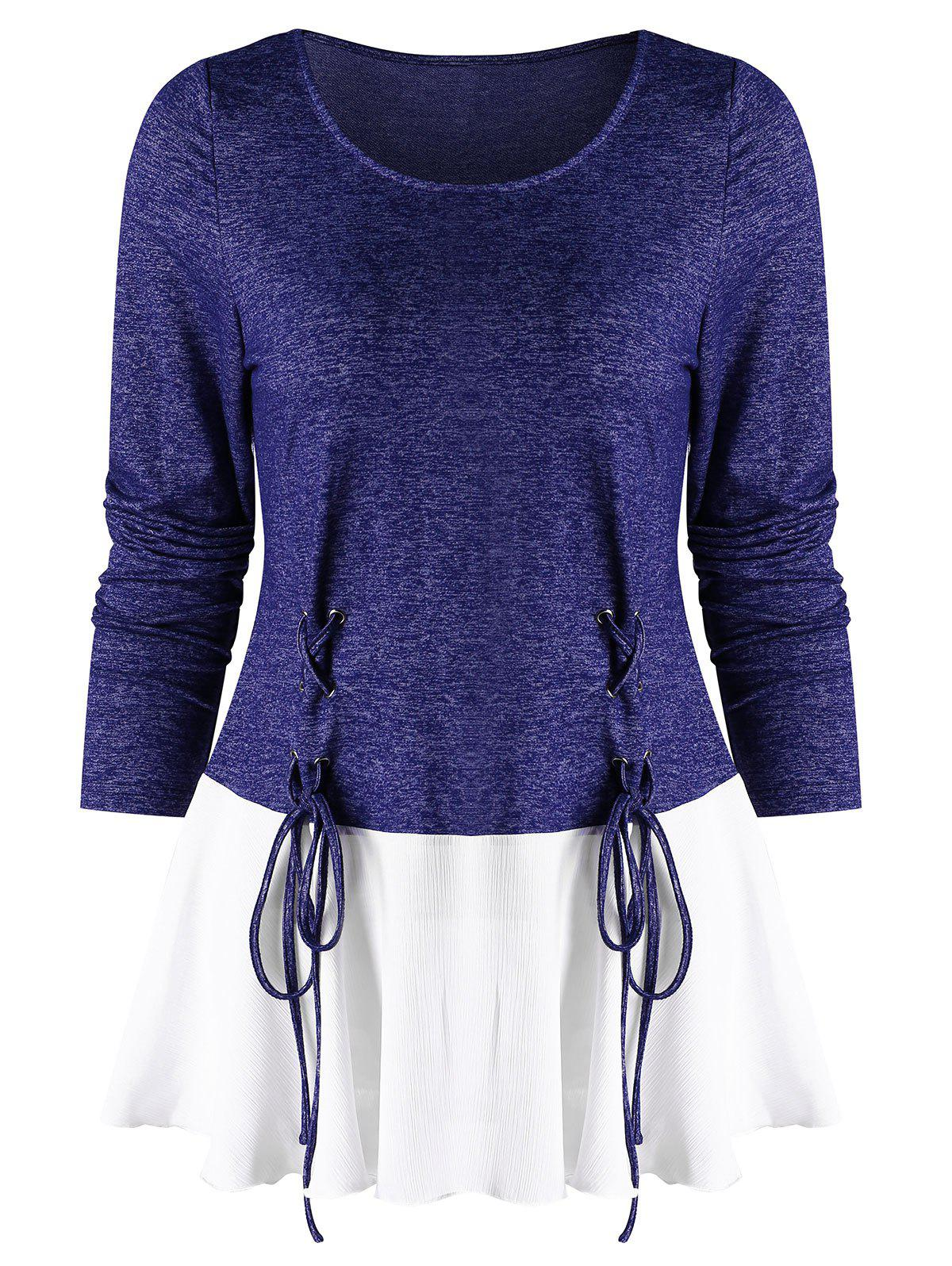 Best Lace Up Spliced Long Sleeves Top