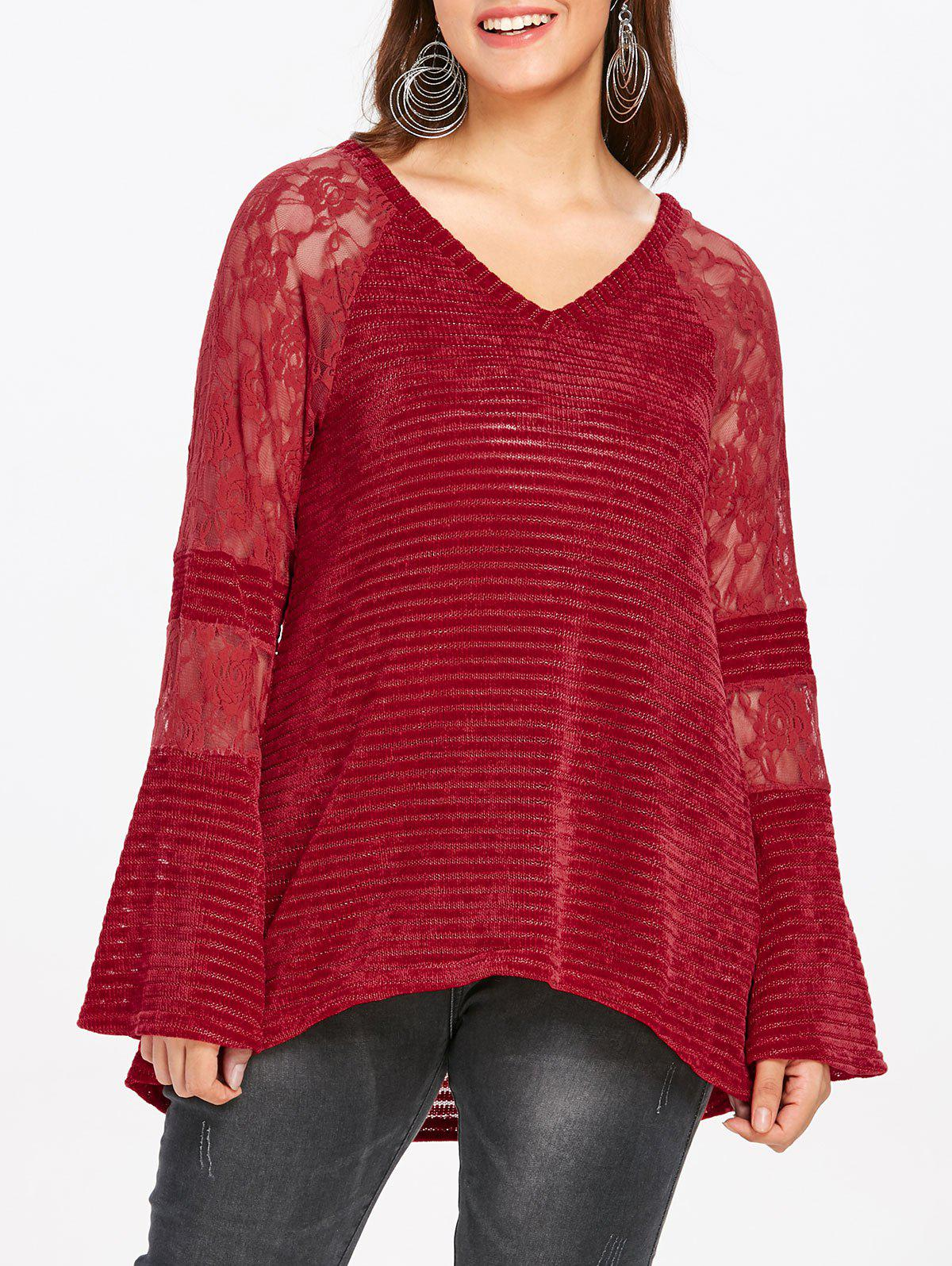 Store Plus Size V Neck Lace Panel Knitwear