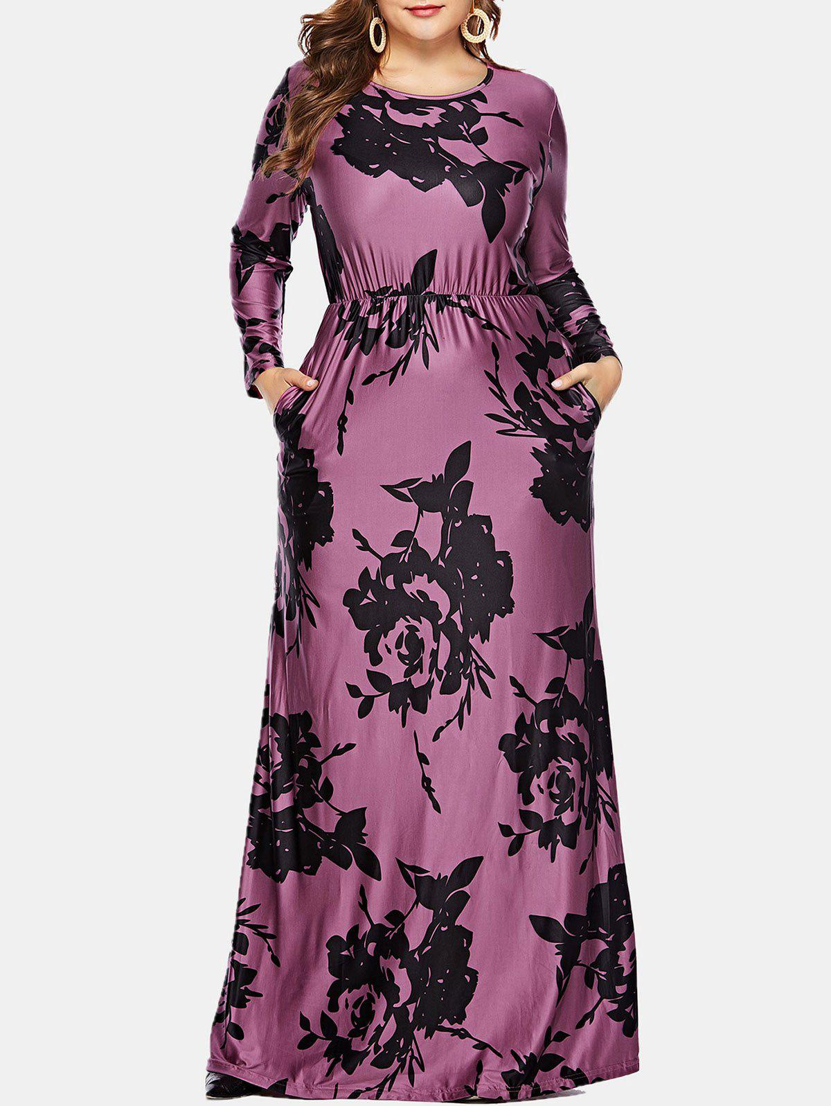 32% OFF] Plus Size Floral Pocket Maxi Dress | Rosegal