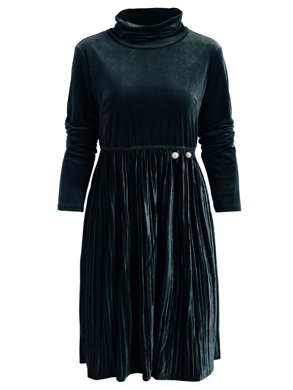 Discount High Waist Velvet Pleated Dress