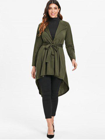 Full Sleeve Open Front High Low Cardigan