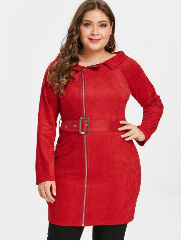 Plus Size Lapel Zipped Tight Dress