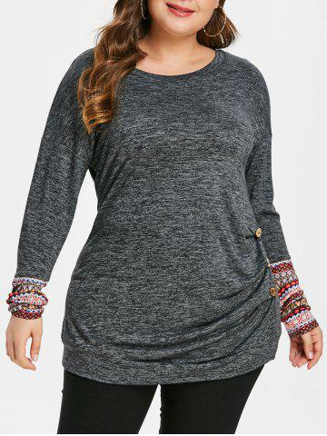Plus Size Contrast Cuffs Heathered Tee