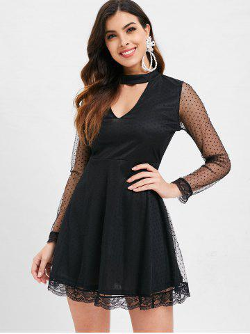 Cut Out Mesh Skater Dress