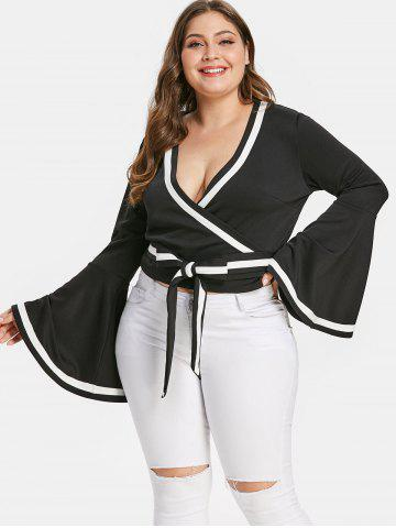 Plus Size Stripe Trim Flare Sleeve Wrap Blouse