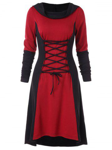 Color Block Criss Cross Gothic Hooded Dress