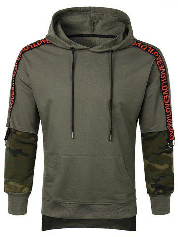 Letter Camo Sleeve Casual Hoodie