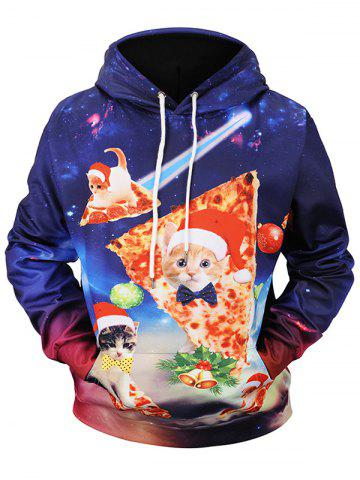 Christmas Pizza Cat Print Pullover Hoodie