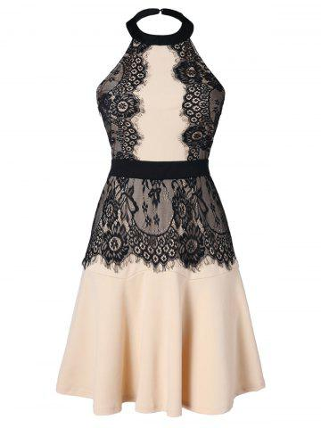 Backless Lace Panel Halter Dress