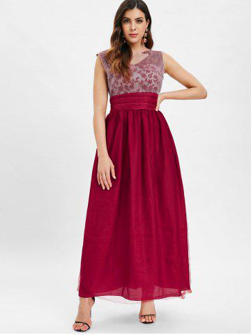 Mesh Panel Embroidered Maxi Dress