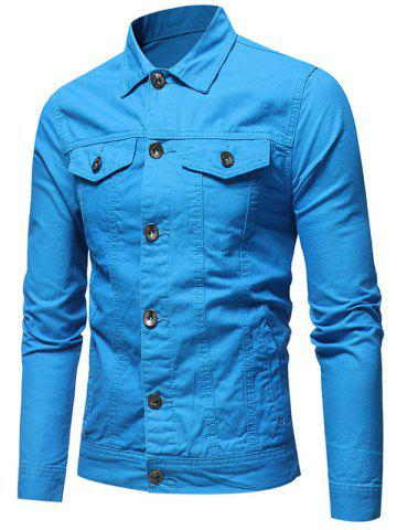 Solid Color Button Fly Denim Jacket