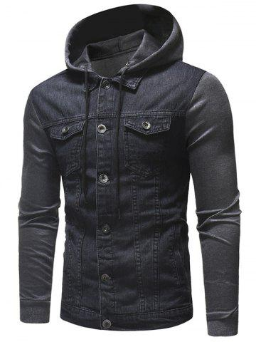 Button Fly Hooded Denim Jacket
