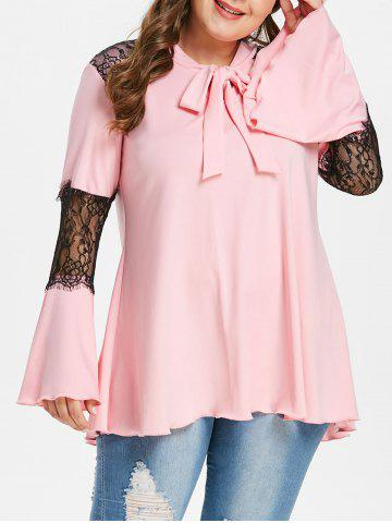 Lace Panel Plus Size Flare Sleeve T-shirt - PINK - L