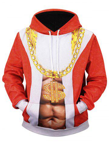 Golden Chain Muscle Print Christmas Hoodie