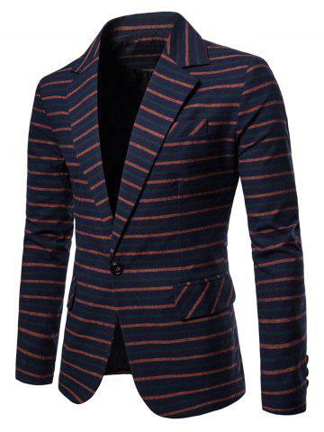 One Button Lapel Collar Striped Blazer