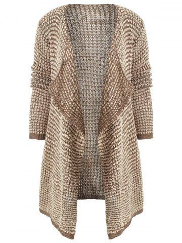 Collarless Long Sleeve Knitted Drape Front Cardigan - KHAKI - S