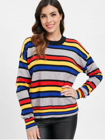 Drop Shoulder Stripe Pattern Sweater