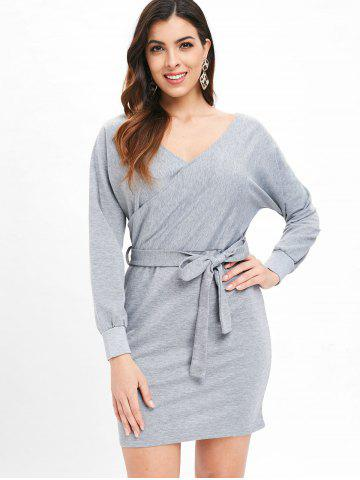 Cut Out Belted Surplice Dress