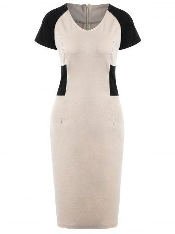 V Neck Two Tone Knee Length Dress