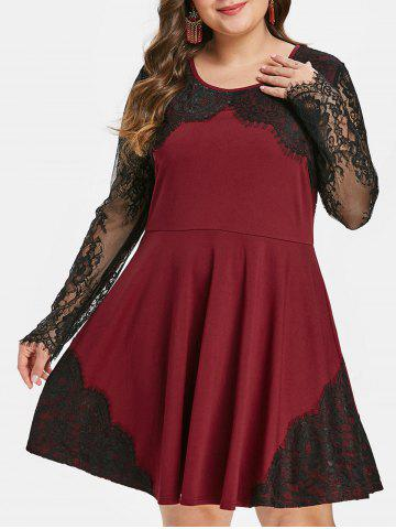 Plus Size Vintage Lace Panel Pin Up Dress - RED WINE - L