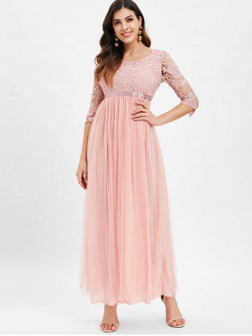 Lace Panel High Waisted Maxi Tulle Dress