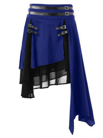 Color Block Layered Asymmetrical Skirt