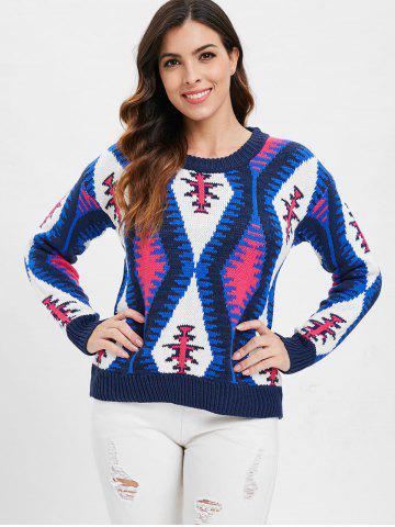 Geometric Graphic Knit Pullover Sweater