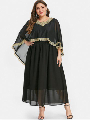 Plus Size Contrast Lace Maxi Capelet Dress
