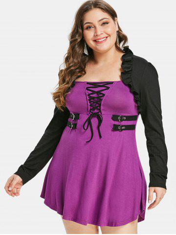 Plus Size Halloween Lace Up Color Block T-shirt