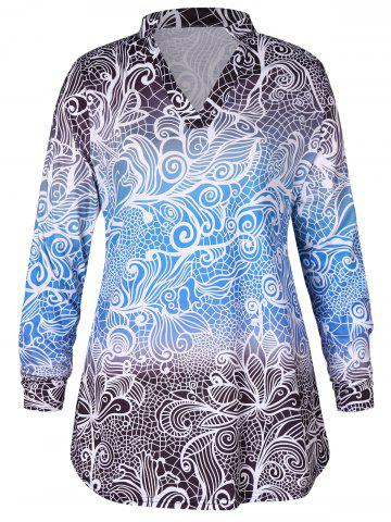 Plus Size Long Sleeves Gradient Color Abstract Print Mini Dress