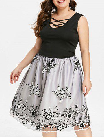 Plus Size Vintage Mesh Overlay Embroidery Dress