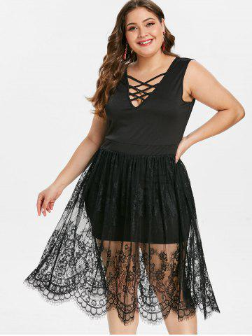 Criss Cross Plus Size Lace Panel Fit and Flare Dress