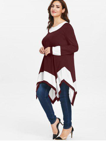 Plus Size Long Sleeve Handkerchief Tunic Top, Chestnut