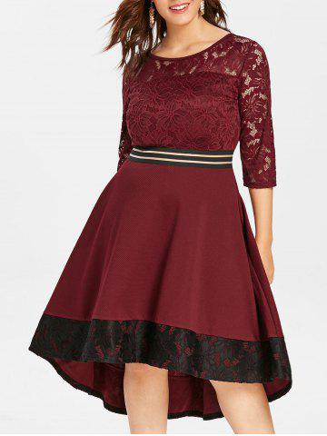 Plus Size High Low Lace Insert Dress - RED WINE - 3X